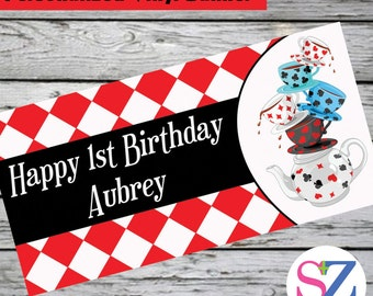 Alice in Wonderland Tea Party Mad Hatter Personalized Party Banner