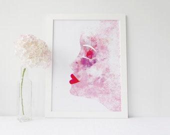 Prints, Portrait, poster, Home, Art deco, Water colour, Printable, Instant Download,