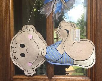 Baby Boy Burlap Door Hanger