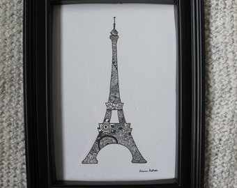 Zentangle Eiffel Tower (Original, Signed Drawing)