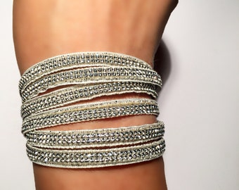 Silver multi strand bracelet with real Swarovski crystals and stainless steel magnetic clasp