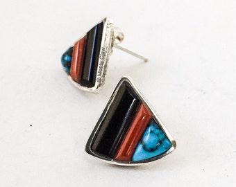 Monty Claw, navajo jewelry, tufa cast inlay earrings