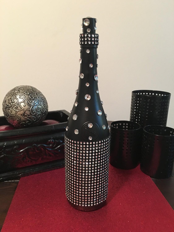 Wine bottle d cor bling bling black for Bling decor