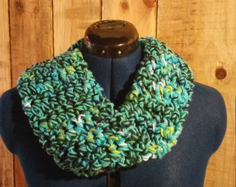 Blue and Green One Loop Infinity Scarf