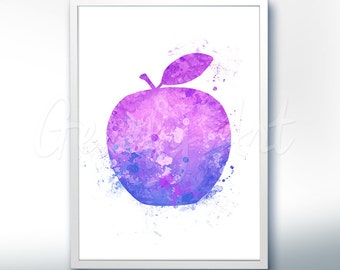 Apple Watercolor Art Print  - Fruit Watercolor Art Painting - Apple Poster - Kitchen Decor - Home Decor - House Warming Gift [3]