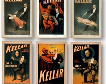 Vintage Magician Kellar Magic Show Poster Ads Set of 6 Prints