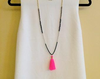 Neon Pink Silk Tassel Necklace