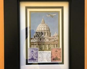 Framed 1967 Vatican Stamped Postcard - St. Peter's Basilica - FDC