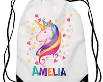 Unicorn, Personalise bag,  Personalized / Personalised , Gym Bag / Backpack - Fun Custom Child's Bag