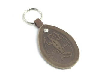 """Leather Key Chain with embossed """"Dragon"""", fantasy keychain"""