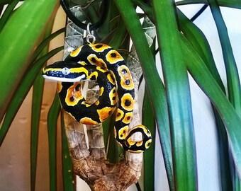 Pendant Python Regius Clay Snake Handmade