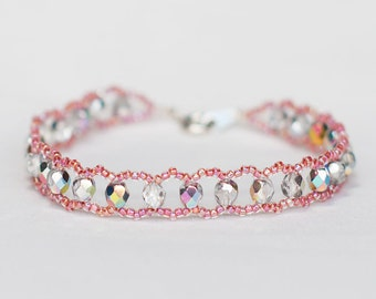 Radiant Bracelet with Silver Colored and Pink Beads and an Intense Sheen