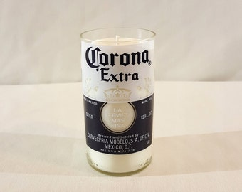 Scented Beer Soy Candle - Upcycled Carona 12 oz Beer Bottles