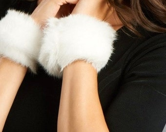 White Mink Cuffs, Bracelets, Lined in white leather