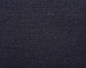 Linen natural - color: dunkelnavy - 100% natural fiber - 0.5 m