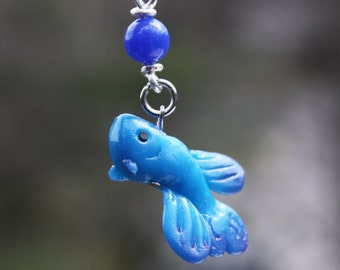 Cute betta charm, kawaii betta charm, fish charm, polymer charm, on a cell phone strap with blue aventurine