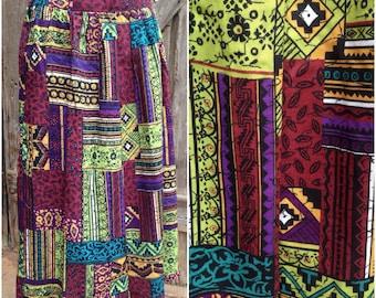 90s tribal skirt, 90s aztec skirt, 90s midi tribal skirt, ethnic skirt, grunge midi skirt, boho midi skirt, summer festival midi skirt,