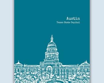 Austin Print, Austin Wall Art, Austin Skyline, Wedding Gift, Austin Art Print,  Austin Texas Art,  Austin Poster,  Austin Decor