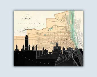 Albany Skyline, Albany Decor, Albany Map, Albany Poster, Albany Print, Albany Skyline Art, Personalized Skyline Print, Wedding Gift