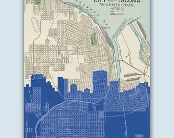 Tacoma Skyline, Tacoma Art Print, Tacoma Decor, Tacoma Poster, Tacoma Washington, Personalized Skyline Print, Tacoma Wall Art, Tacoma Map