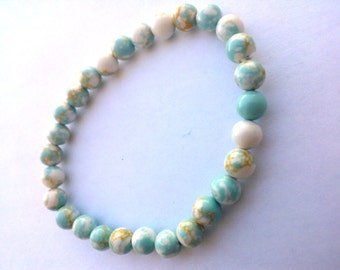 Charming Natural Blue Sky Jasper Stone BRACELET Custom made 6mm beads