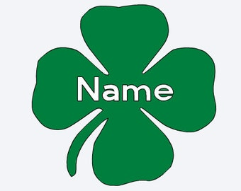 Personalized 4 Leaf Clover Decal, 4-H Name Sticker,