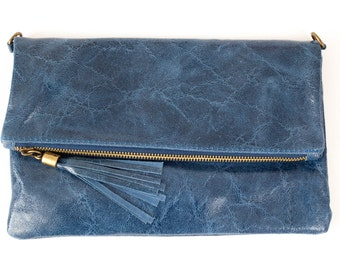 Leather Clutch With Tassel Detail - Various Colours