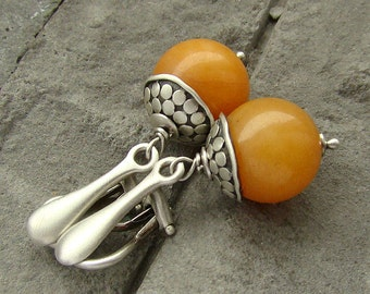 Sterling silver clip on earrings/oxidized silver and orange jade