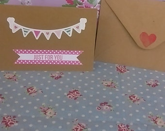 Just for you bunting greetings card