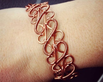 copper - handmade - copper bracelet -wire jewlry