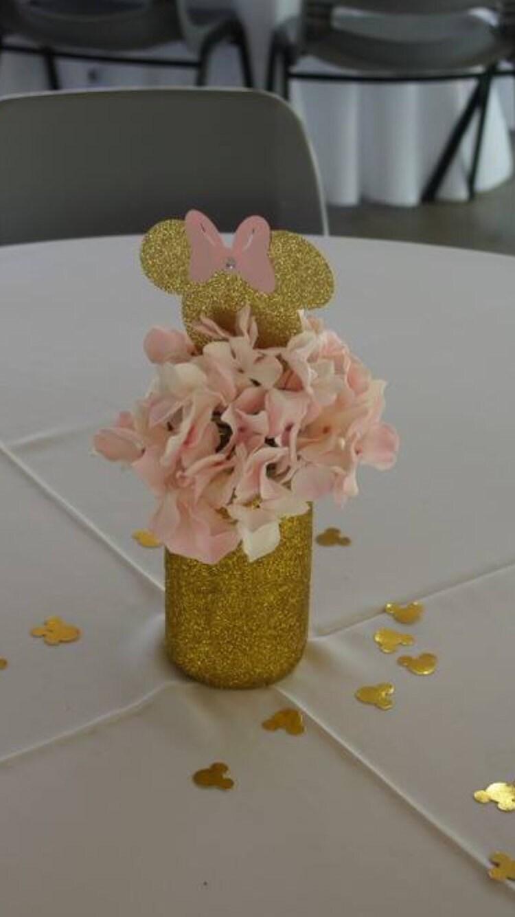 Pink Bow Centerpiece : Pink and gold glitter minnie inspired centerpiece