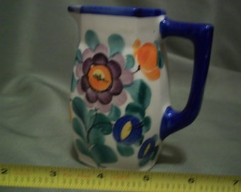 Vintage Bern Pottery Czechoslovakia Creamer / Pitcher Poppy Pattern