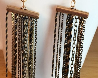Black Chandelier earrings, black and gold earrings