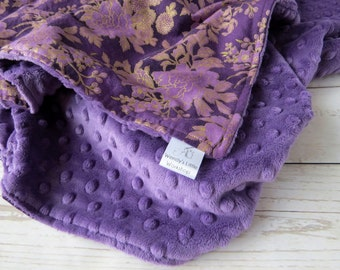 Purple and Gold Floral Baby Blanket // Minky Blanket // Newborn Blanket // Baby Girl Blanket // New Mom Gift // Baby Shower Gift