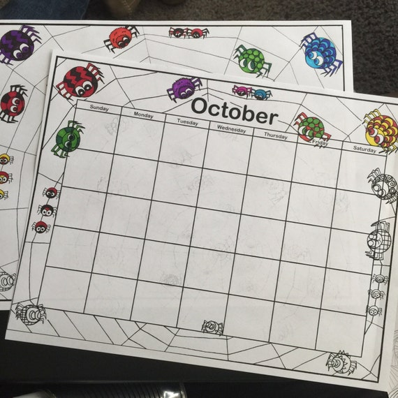 October Calendar Illustration : October calendar and matching coloring page