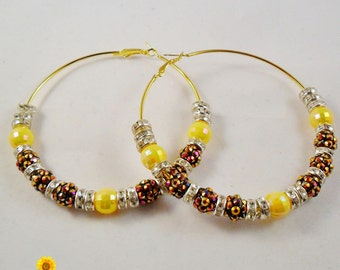 Big Bling Yellow, Brown and Silver Hoop Earrings - 3in - Basketball Wives Style