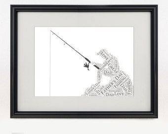 Printable Personalised Fisherman Print | Personalized Word Art for Dad, Birthday | Fishing | Print Yourself | Father's Day Gift