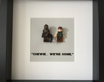 Chewbacca and Han Solo Framed Minifigures / Star Wars / Chewie / Wookiee / Gift / Men / Women / House Warming