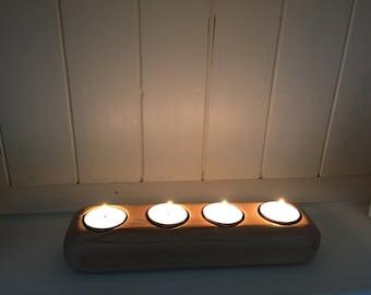 Handmade cedar tea light candle holder