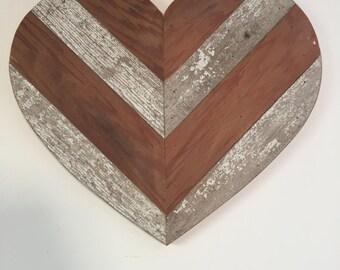 Barnwood Heart Wall Decor, Chevron Heart, Barnwood Heart Wall Hanging, Rustic Barnwood Heart