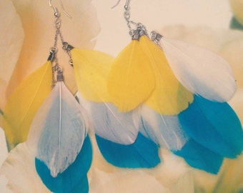 Multicolour feather earrings