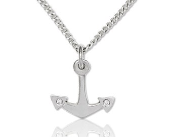 Silver anchor pendant necklace