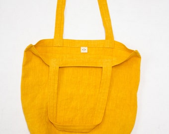 linen bag / marigold yellow tote / packable and lightweight