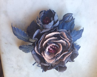 rose denim, hair clip with a rose, denim flower in her hair