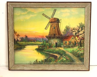Vintage Framed Print of Dutch Windmill