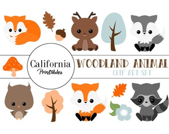 Woodland Animals Clip Art Set - Set of 17 - Forest Clip Art - Forest Vector - Scrapbook - Instant Download