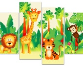 Childrens Jungle Animals 4 Panels - Canvas Art Print Picture - Framed and Ready to Hang - Overall Size 104cm x 69cm - by Rubybloom Designs