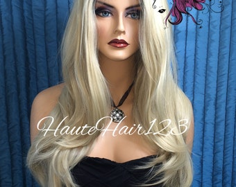 Human Hair Blend Multidimension Rooted all Throughout Platinum Ash Blonde Realistic Lace Front Wig Multiple Parting Space