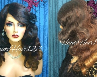 Vintage Retro Classic Glamourous Hollywood Finger Wave Ombre 3 Color Realistic Human Hair Blend Lace Front Wig