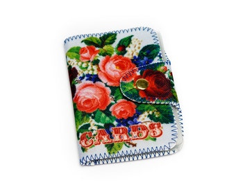 Rose Business card Case, Rose Credit Card Holder, Rose Wallet, Cute Fabric Card Case, Gift for Her, 4081